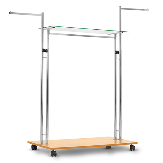 rack with wooden base and glass shelf